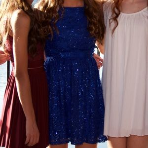 blue sparkly hoco dress